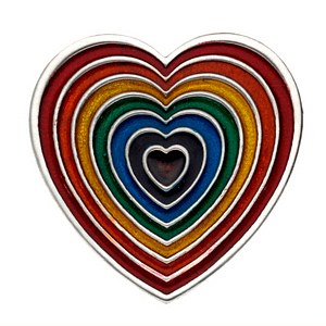 Rainbow Heart Brooch-Large-Red Outer