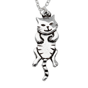 pewter dangle cat pendant