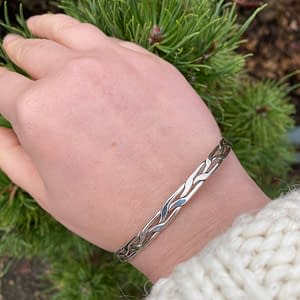 silver woven bangle on LJ