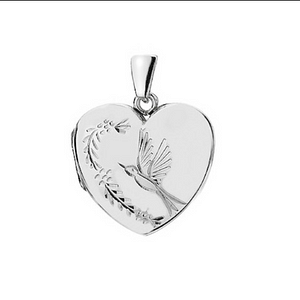 hummingbird heart locket