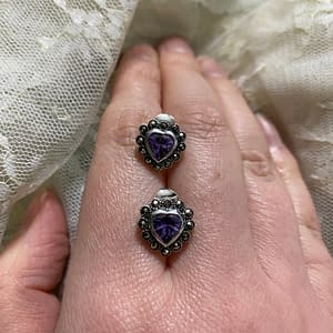 marcasite purple heart stud earrings on LJ