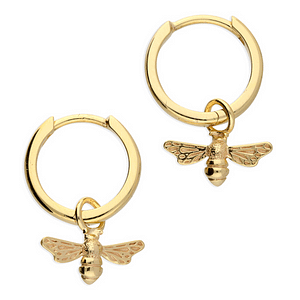 Golden Bee Hoop Earrings
