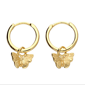 golden butterfly hoop earring