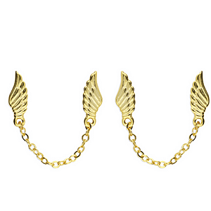 angel wing double stud with gold finish