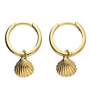 golden cockle shell huggie hoops