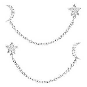 Sparkly Moon and Star Double Earrings