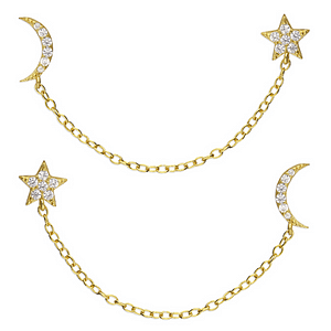 sparkly moon and star earrings gold finish