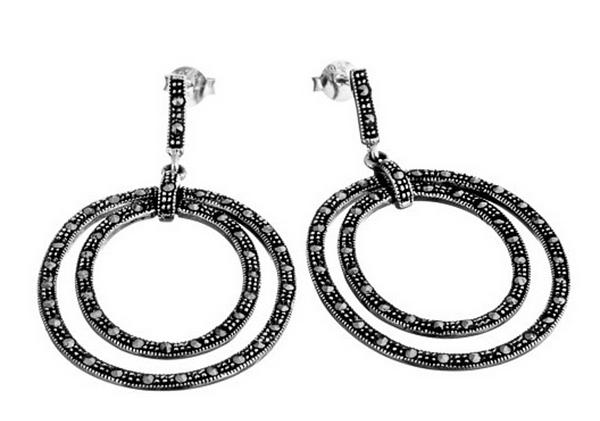 Marcasite Double Hoop Earrings
