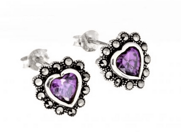 marcasite purple heart stud earrings