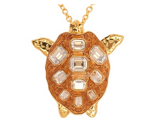 Mock Turtle Large Pendant on Gold Head In