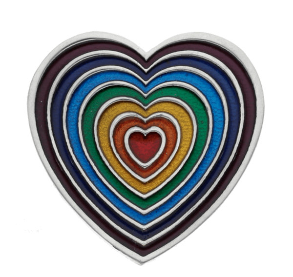 Rainbow Heart Brooch Large Violet Outer