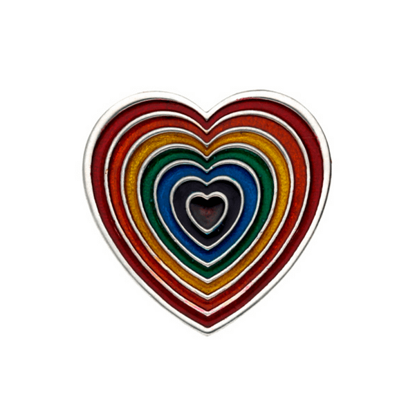 Rainbow Heart Brooch Small Red Outer