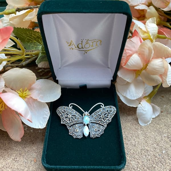 MArcasite and Opalite Butterfly Brooch outside