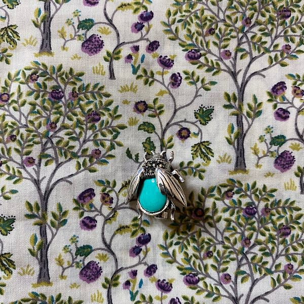 turquoise and marcasite bee brooch close