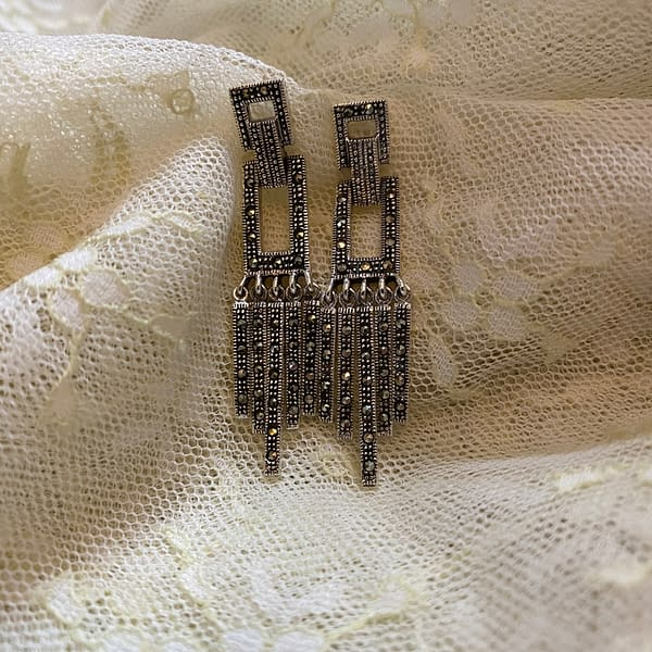 deco delight marcasite earrings on lace