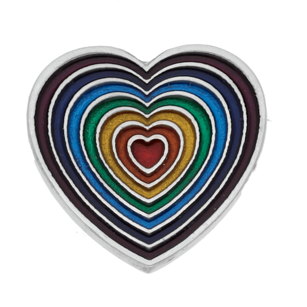 Rainbow Heart Brooch small violet outer