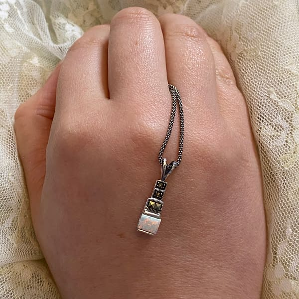 marcasite and opalite square step pendant on LJ