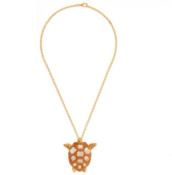Mock Turtle Large Pendant in Gold Full View