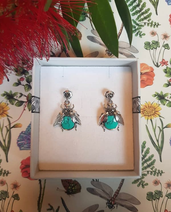 Marcasite and Turquoise Bee Earrings